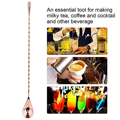 1Pc Stainless Steel Cocktail Spoon Beverage Coffee Mixing Layering Tool With Long Handle(#5)