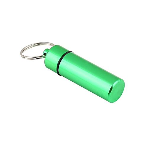 Waterproof Pill Shaped Aluminum Alloy Pill Drug Bottle Holder Container Keychain Green