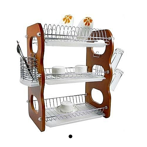 3 Layer Wooden Dish Rack With Drainer - 3 Tiers