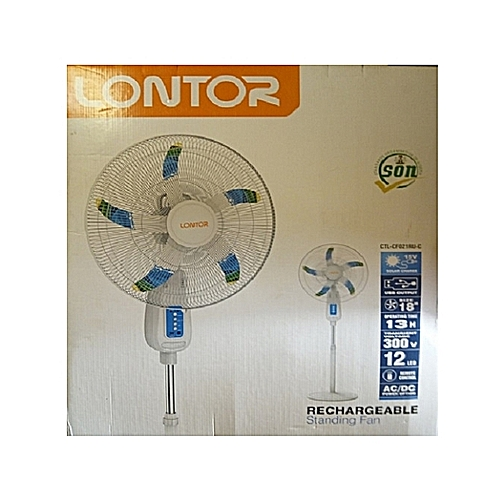 """Lontor 18"""" Rechargeable Standing Fan With Remote Control CTL-CFO21RU-C 13Hrs, 12 LED AC/DC Power Option"""