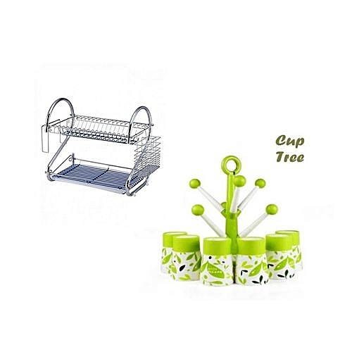 Dish Drainer/plate Rack & Cup Holder With 6 Cups