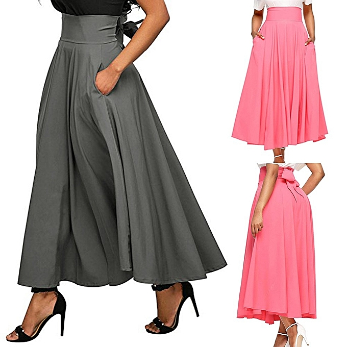 Equivalentt Women High Waist Pleated A Line Long Skirt Front Slit Belted Maxi  Skirt 6649e4abd
