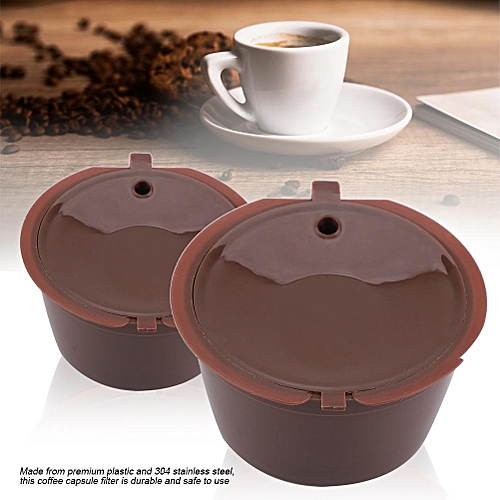 Plastic And Stainless Steel Refillable Coffee Capsule Filters With Spoon Cleaning Brush (1Pc)