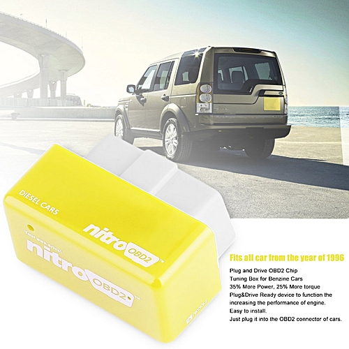 OBD2 Plug And Drive OBDII Performance Chip Tuning Box For Benzine Car Yellow