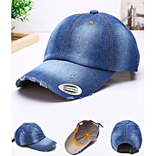 70cff4d67561f Ripped Jeans Designer Baseball Face Cap Hat- Blue