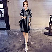 6fe2239a16 ZANZEA Women Dress V-Neck Short Sleeve Casual Loose Striped Shirt Dress  Mini Vestidos (