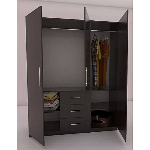 6ft Wide - 3 Doors Wardrobe With Double Hanging, Drawers & Shelves (Lagos Orders Only)