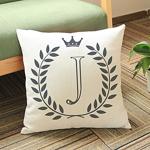 Africanmall Store Letters Pattern Cotton Linen Cushion Cover Throw Pillow Case Sofa Home Decor J- Multicolor