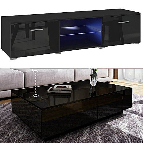 Orzorn Smart Control LED TV Stand 2.0 With Boxini Wireless Charging Coffee Table(2 Piece Set)