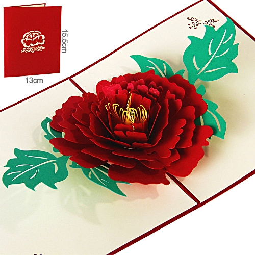 Lover Happy Birthday Anniversary Greeting 3D Card Postcard/peony Red