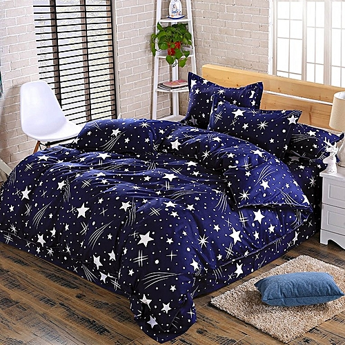 1.8M Bed Supplies Printing Four-piece Set Quilt Cover Bed Sheet Pillow Cases Blue & White