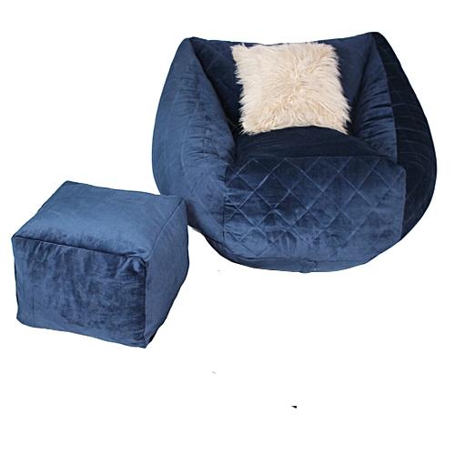 Bean Bag Sofa Chair & Leg Rest & 1 Pillow - Blue