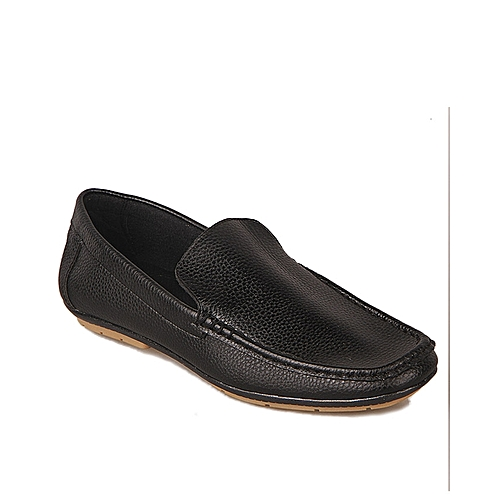 Plain Casual Synthetic Leather Loafers - Black