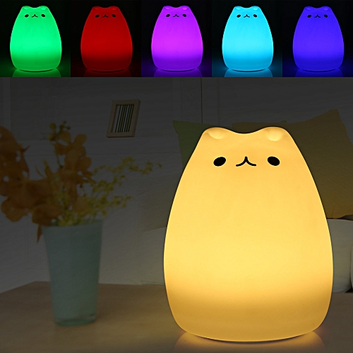 USB Rechargeable Children Night Light, Silicone Cat Smiley Face Lamp, Kids Bedside Lights Warm 7 Color Changing For Baby Bedroom Nursery Birthday Gift