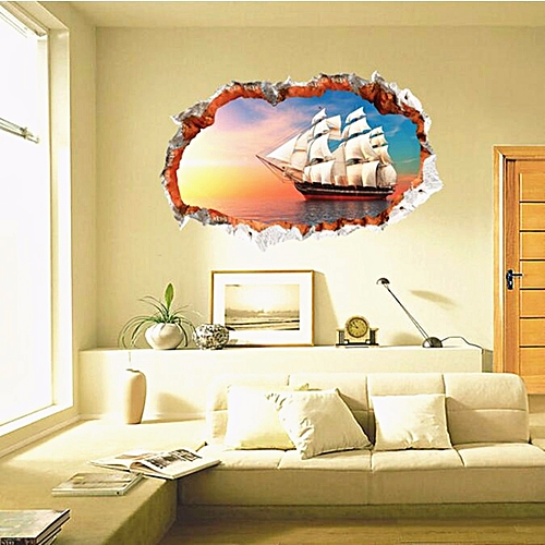 3D Ocean Sailingboat Ship Wall Sticker Decal Mural Art Home Room Decor Gifts 60cm*90cm Gifts-Multi