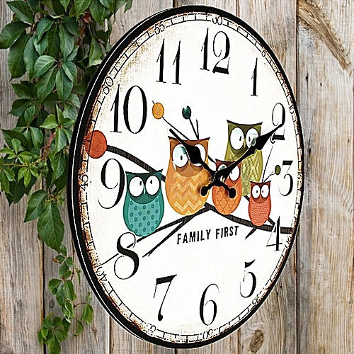 Wall Clock Owl Vintage Rustic Shabby Home Office