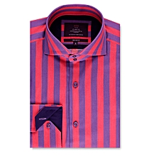 2d4e890bdc28f Mens Curtis Pink  amp  Purple Stripe Slim Fit Shirt -High Collar
