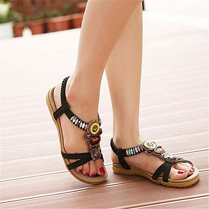 Women's Sweet Beaded Clip Bohemian Herringbone Toe Flats Sandals