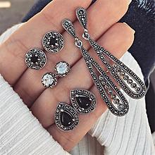 d87ed4cc6 4 Pairs / Set Retro Water Drop Gemstone Pendant Earrings