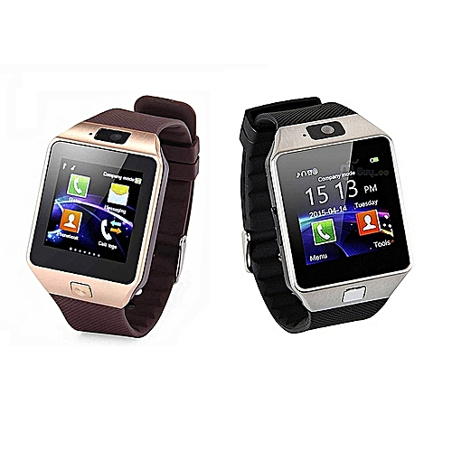 Smart Watch DZ09 New Version 2.0 With Phone/Camera/Bluetooth/MMC - 2 Unit Gold And Silver HT