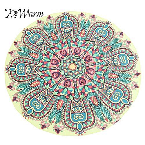 Round Yellow Print Bohemian Mandala Tapestry Bedspread Yoga Shawl Beach Blanket