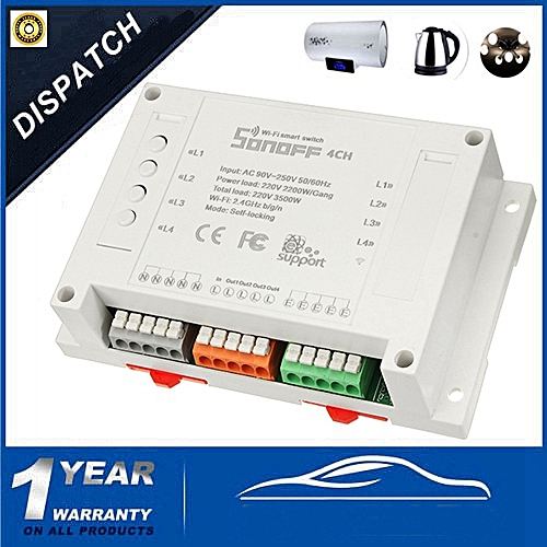 SONOFF 4CH Smart Home WiFi Wireless APP Remote Control Switch Din Rail Mouting