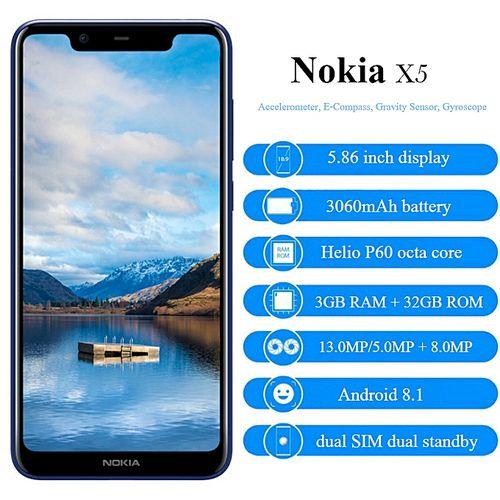 X5 - 5.86-Inch HD+ (3GB RAM + 32GB ROM) Android 8.1, (13.0MP + 5.0MP) + 8.0MP, 4G LTE Smartphone - Blue