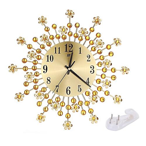 Wall Clock Oversize Large Flower Art Metal Modern Luxury Diamond Silent Gold
