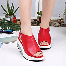 Red -Rocker Shoes Women Summer Sals Thick-soled Magic Slope-heeled Muffin Cake Waterpro Table Fishmouth Large-size Sals for sale  Nigeria