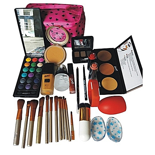 Classic Makeup HD Adorable Makeup Kit With Brushes, BrushCleaner, LED Watch And Free Bag