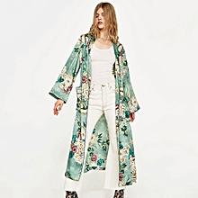 8e27fa5d0e77a Vintage Women Retro Floral Print Long Kimono Coat Jacket Long Sleeve  Cardigan Maxi Shawl Tops With