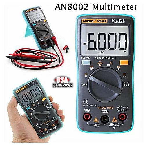 AN8002 Digital LCD Multimeter Voltmeter Ammeter Backlight AC DC Meter Tester US Black+Blue