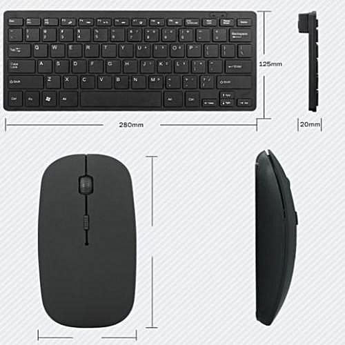 Wireless Keyboard Mouse Mini Ultra-Thin Portable Silver