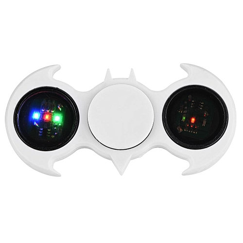 LED Light Hand Fingertip Spinner Custom Bearing High Speed Focus Toy Autism Relief Bat White