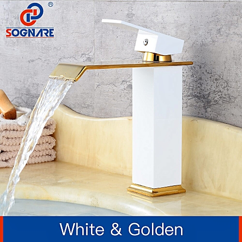 Luxury Waterfall Tap Tall Bathroom Basin Faucet Mixer Water Tap Vessel Sink Faucet Gold And White Faucet Bathroom Taps