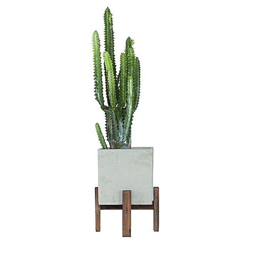 Garden Patio Planter Mid Century Wooden Plant Stand Ceramic Pot White Large