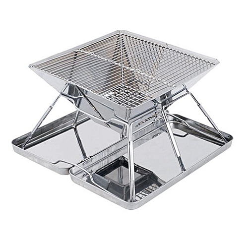 New Stainless Steel Barbecue Pits Folding Wood-burning Stove BBQ Charcoal Grill # 31*31*21CM