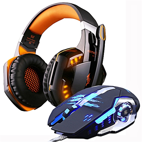 Gaming Headset Casque Headphones Deep Bass Stereo Earphones With Microphone +Gaming Mouse Mice 3200 DPI Combination LED Lights FADY