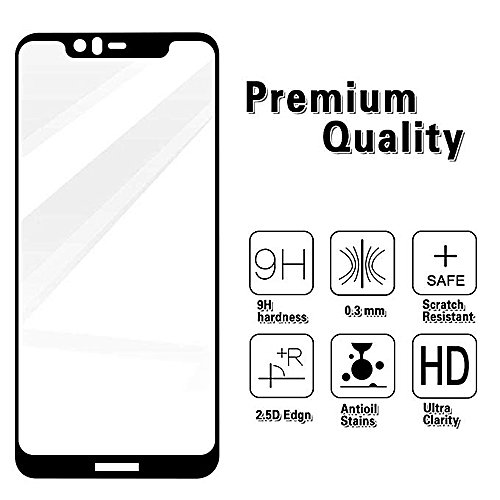 Nokia X5 Screen Protector Tempered Glass Full Cover Protective Film(Black)