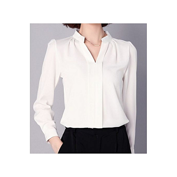 03f157d9e9584 Mengxiner Fashion Women Office Formal Plain Sexy Long Sleeve Shirt ...
