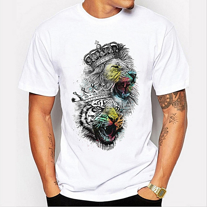 922e4360b7ee Hot Stuff Summer Men  s New T - Shirt Personality Graffiti Lion Pattern  Short -