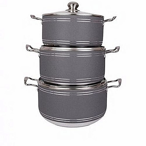 MASTERCHEF 3 Pieces Non Stick Pots - Black, Brown, Grey BIG SIZE(Colour May Vary)