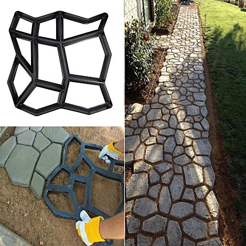 Technologg Home Improvement Path Maker Mold Reusable Concrete Cement Stone Design Paver Walk Mould-black