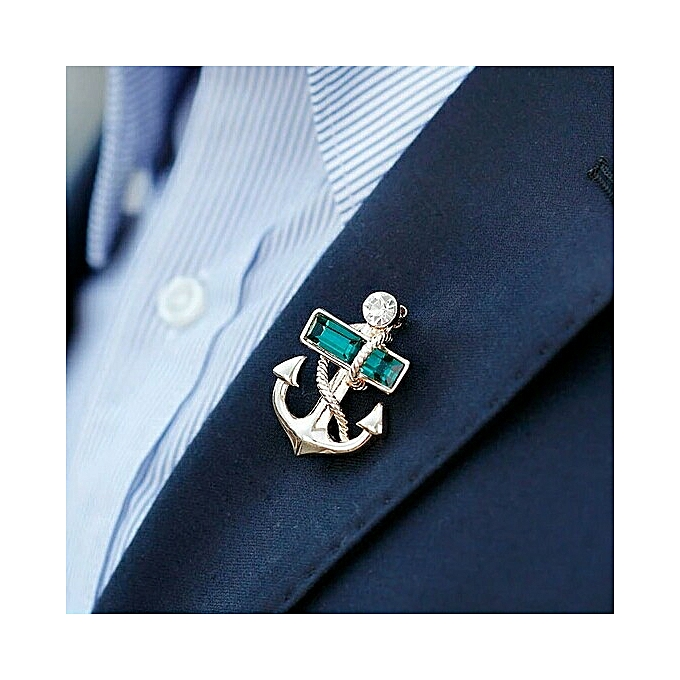 59c90d569c3 Anchor Brooch Pin Men's Suit Accessories With Rhinestones