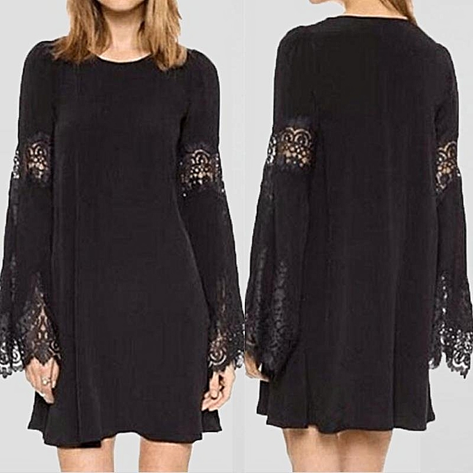 Zanzea Fashion Womens O Neck Lace Crochet Hollow Vestido Ladies Long Sleeve Loose Party Casual Mini Shirt Dress Black