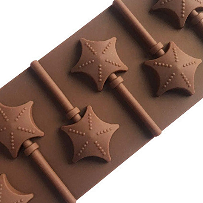 2* 6 Slots Lollipop Silicone Mold Chocolate Candy Sugar Jelloy Loving Heart  Stars Shaped Mould Baking Supplies