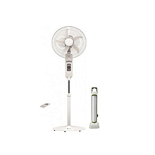 """18 """"Inch Rechargeable Fan With Remote + Free Rechargeable Lantern"""