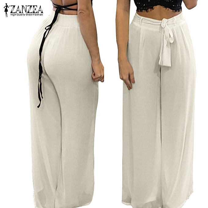 ... ZANZEA Women High Waist Palazzo Pants Wide Leg Loose Chiffon Long Pants Trousers ...