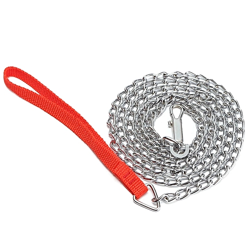 Chain Link Dog Leash Red Handle Pet Walking Tool