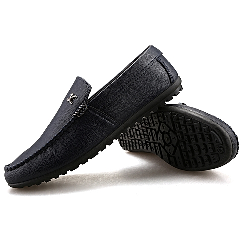 2019 New Flat Fashion Men's Casual Shoes Shoes Leather Loafers Shoes-Black
